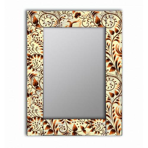Настенное зеркало в деревянной раме Золотая роспись