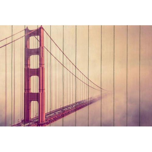 Картина на дереве Мост в тумане