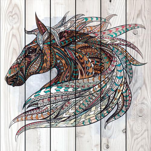 Картина на дереве Тотем Лошадь