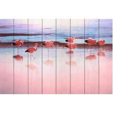 Картина на дереве Фламинго на берегу реки