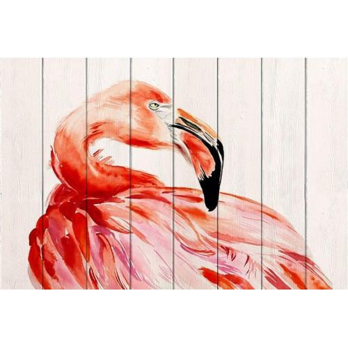 Картина на дереве Фламинго