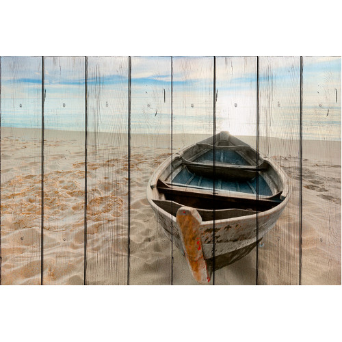 Картина на досках Лодка на берегу