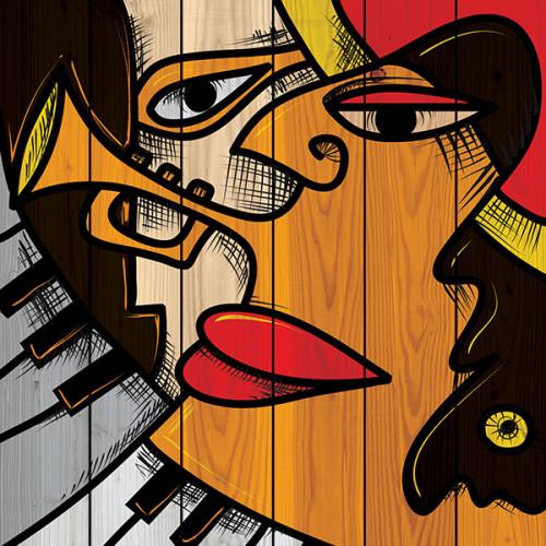 Картина на дереве Музыкальная любовь