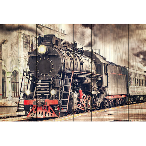 Картина на досках Старый поезд
