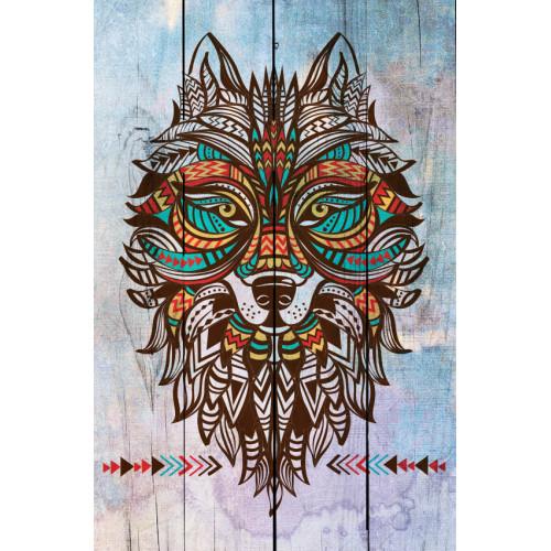 Картина на досках Тотем Волк