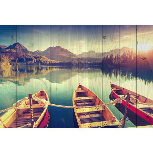 Картина на досках Лодки на берегу