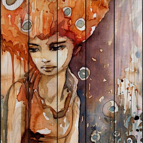 Картина на досках Рыжая девушка