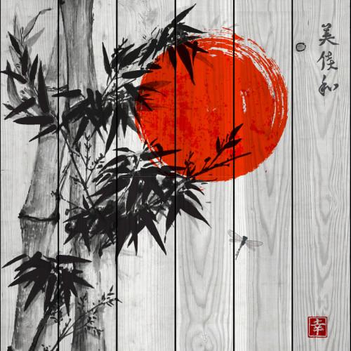 Картина на дереве Красное солнце
