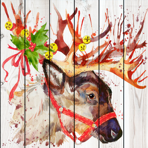 Картина на досках Новогодний олень