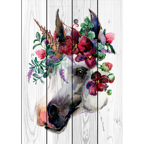 Картина на досках Лошадь в венке