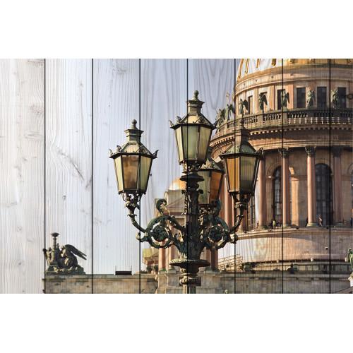 Картина на дереве Фонари Санкт-Петербурга