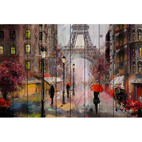 Картина на дереве Парижские зонтики