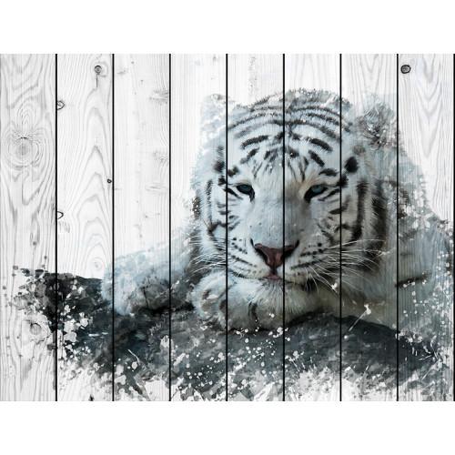 Картина на дереве Белый тигр