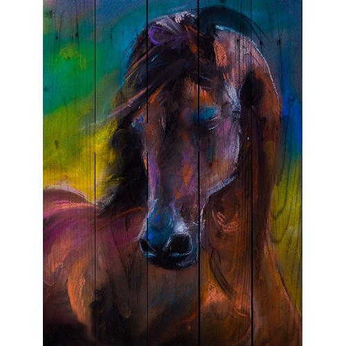 Картина на досках Лошадь Акварель