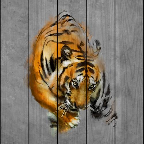 Картина на досках Крадущийся тигр