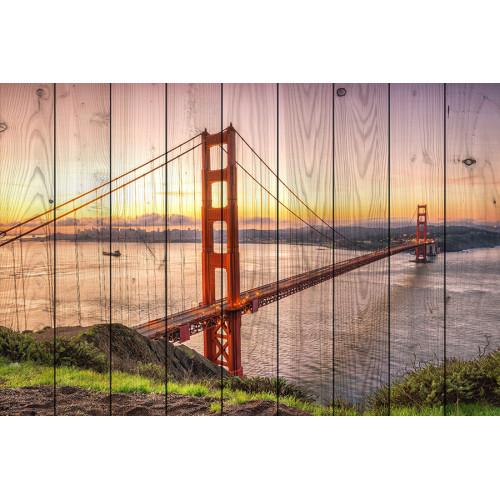 Картина на дереве Мост Золотые ворота