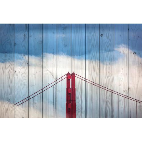 Картина на досках Мост в тумане