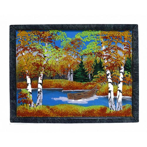 Каменное панно №4 осень, лодочка горизонтально