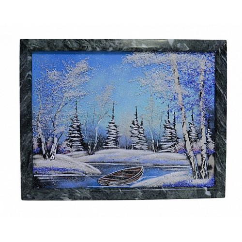 Каменное панно №4 зима, лодочка горизонтально