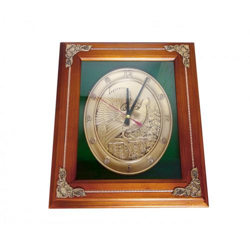 Деревянная ключница-часы настенная