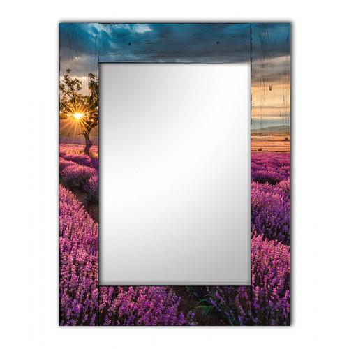 Настенное зеркало в раме Лавандовое поле